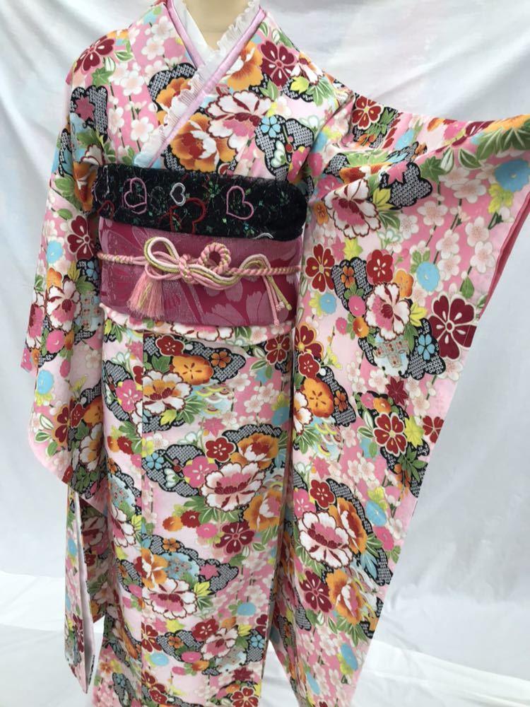 未使用 仕立て済み しつけ付き HL 振袖 ピンク地 和風柄 帯プレゼント 衣装 素材 練習用にどうぞ 成人式 大量出品中