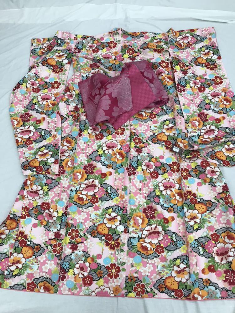 未使用 仕立て済み しつけ付き HL 振袖 ピンク地 和風柄 帯プレゼント 衣装 素材 練習用にどうぞ 成人式 大量出品中_画像3