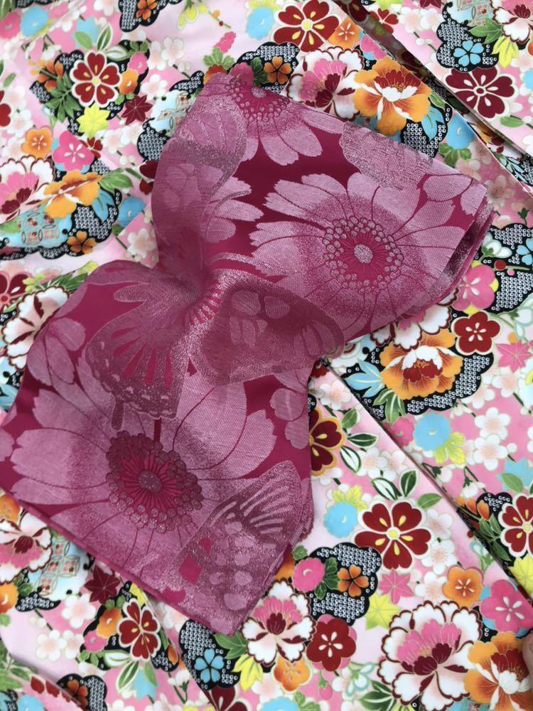 未使用 仕立て済み しつけ付き HL 振袖 ピンク地 和風柄 帯プレゼント 衣装 素材 練習用にどうぞ 成人式 大量出品中_画像5