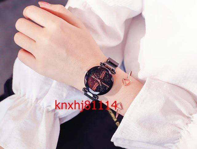 【破格の1円スタート】高級 ローズゴールド 女性 腕時計 ミニマリスト 星空 磁気 バックル ファッション カジュアル 防水 ローマ数字 m_画像7