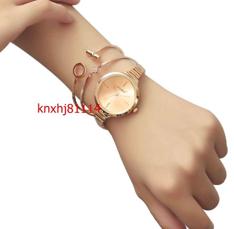 【破格の1円スタート】ファッション 女性 ローズゴールド ブレスレット 高級 ジュエリー レディース クォーツ 腕時計 セット ai_画像7