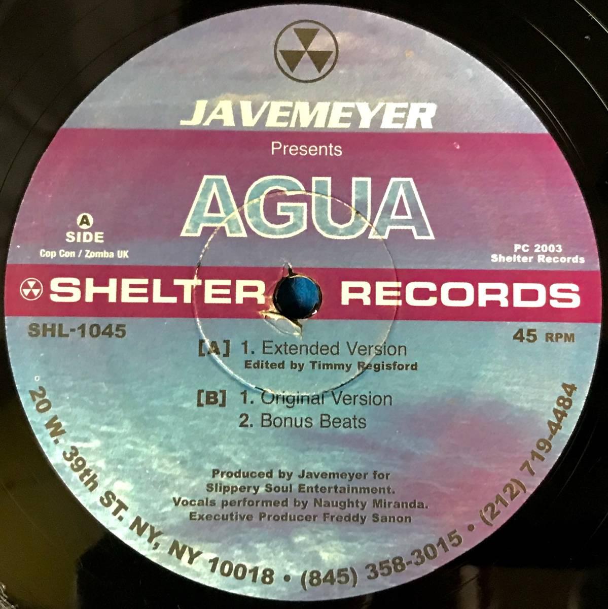 【HOUSE】JAVEMEYER//AGUA//SHELTER RECORDS//SHL-1045//TIMMY REGISFORD//12INCH VINYL/US/LOFT/GARAGE