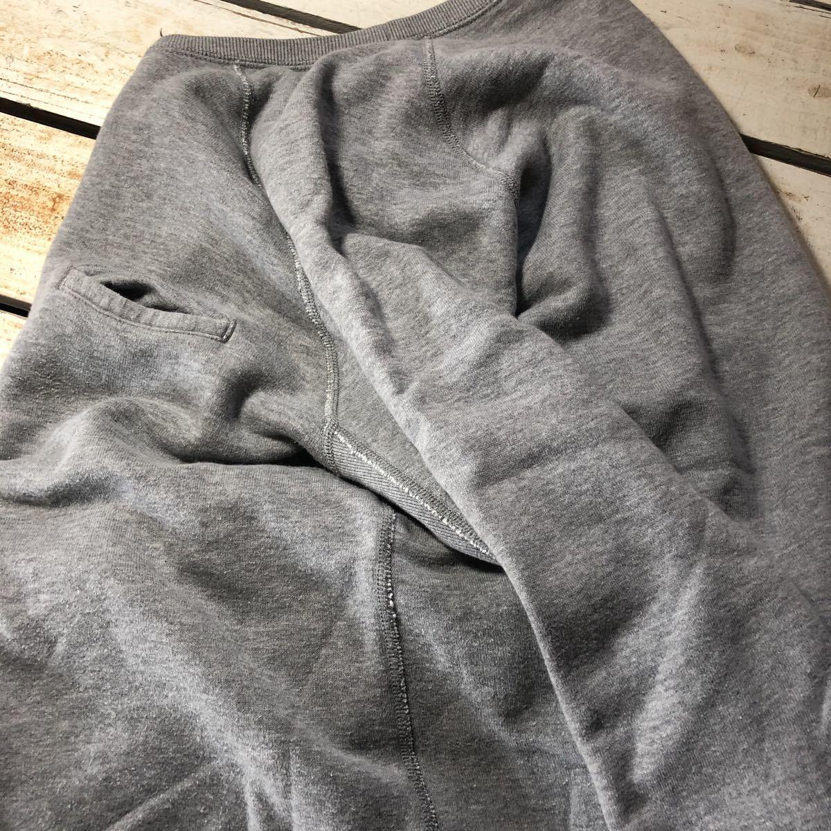 希少 良品 ループウィラー LOOPWHEELER Vガゼット 霜降りグレー スウェット プルオーバー L 無地 胸ポケット コットン 日本製_画像6