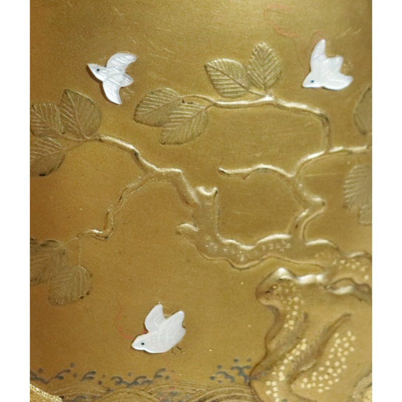 時代 芝山蒔絵 表花鳥裏波千鳥文 置平目地 印籠 時代髑髏形/獅子牡丹刻文根付付_画像5