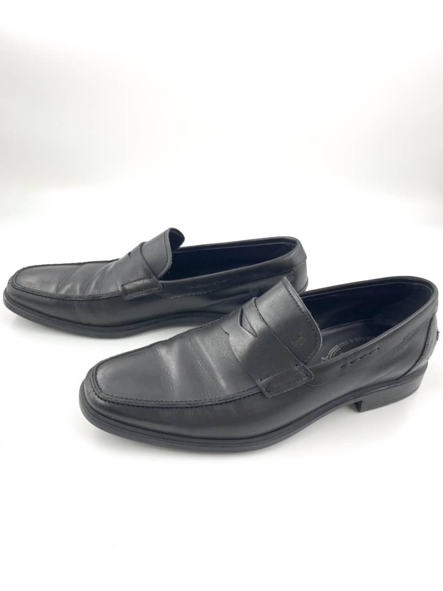 【1円スタート】 トッズ TOD'S レザー スリッポン 靴 シューズ 黒 サイズ 6 メンズ ビジネス_画像4
