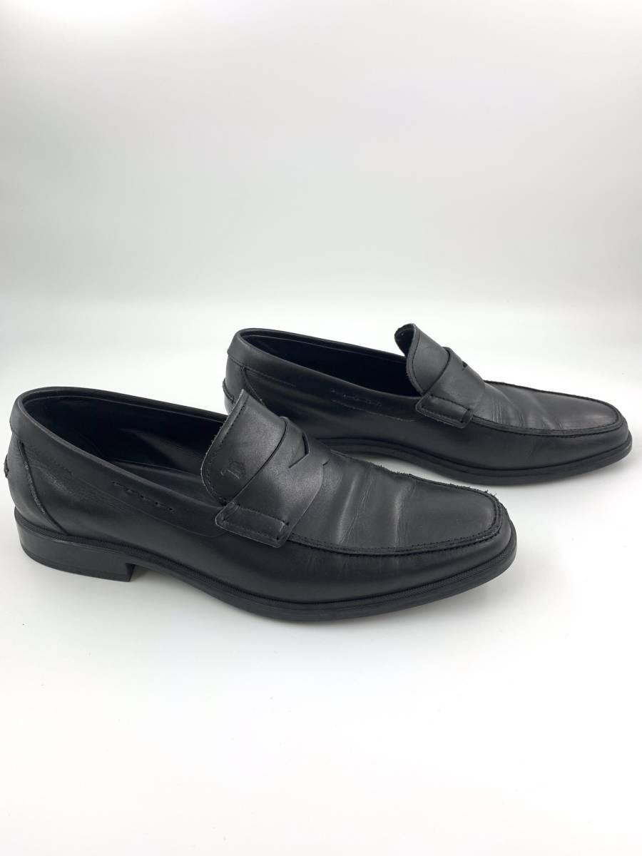 【1円スタート】 トッズ TOD'S レザー スリッポン 靴 シューズ 黒 サイズ 6 メンズ ビジネス_画像3