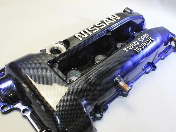 カーボン調塗装 黒-青 グラデーション S14 S15 ? シルビア SR20DET エンジン ヘッドカバー カムカバー タペットカバー エンジンカバー_画像1