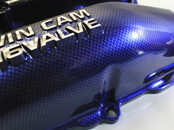 カーボン調塗装 黒-青 グラデーション S14 S15 ? シルビア SR20DET エンジン ヘッドカバー カムカバー タペットカバー エンジンカバー_画像8