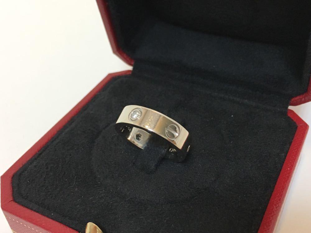 正規品美品Cartier カルティエ ラブリング 3Pダイヤ 750 9.4g ホワイトゴールド 売り切り 本物_画像4