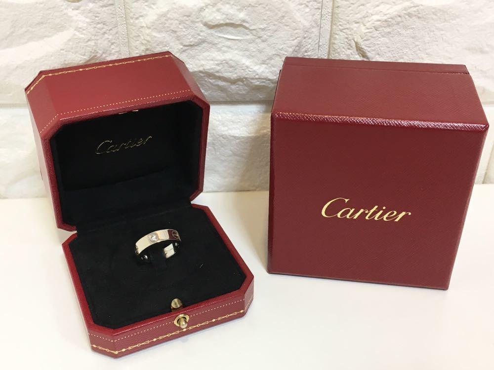 正規品美品Cartier カルティエ ラブリング 3Pダイヤ 750 9.4g ホワイトゴールド 売り切り 本物