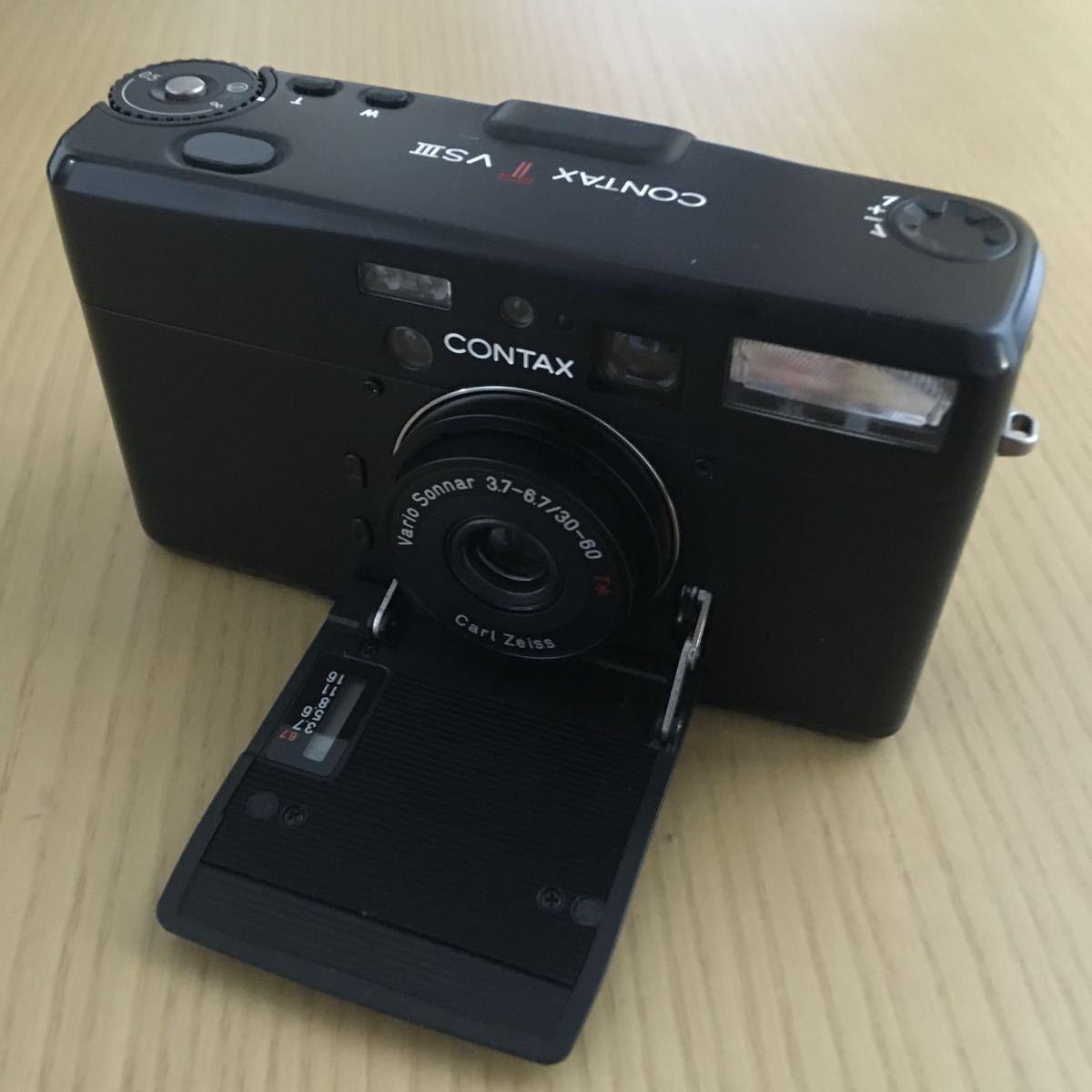 Contax TVS Ⅲ ブラック(Carl Zeiss Vario Sonnar 30-60mm f3.7-6.7) T vs 3 動作写りOK 概ねキレイ ストラップ2種 革ケース 説明書 内外箱_画像3