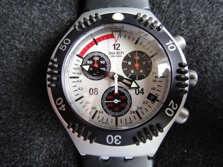 スオッチ 腕時計 ★ Swatch IRONY ALUMINIUM ◆ WATER-RESIST 200m SWISS MADE V8 【中古品】