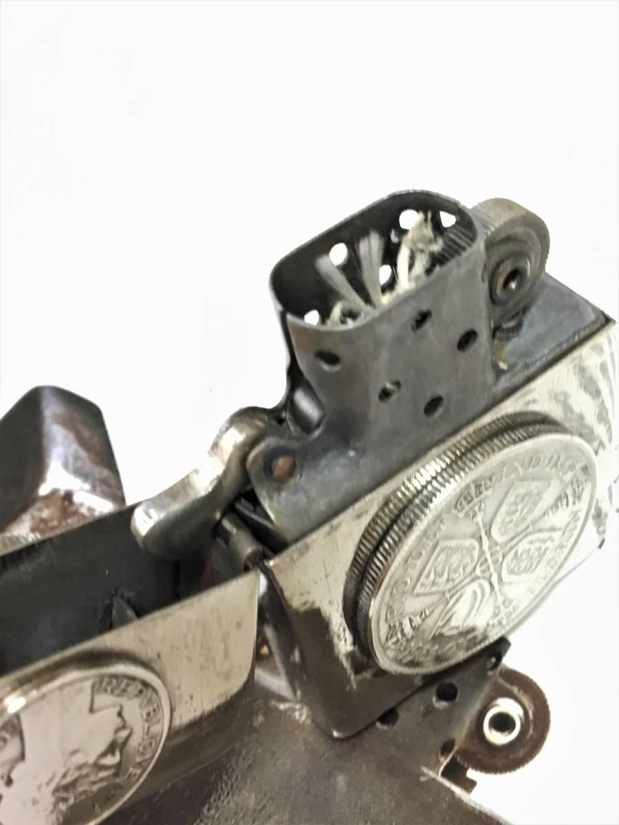 1942Y Zippo 4 barrel クロームフィニッシュ ジッポ ワールド Sterling無垢コイン 超希少品 フルオリジナル_画像6