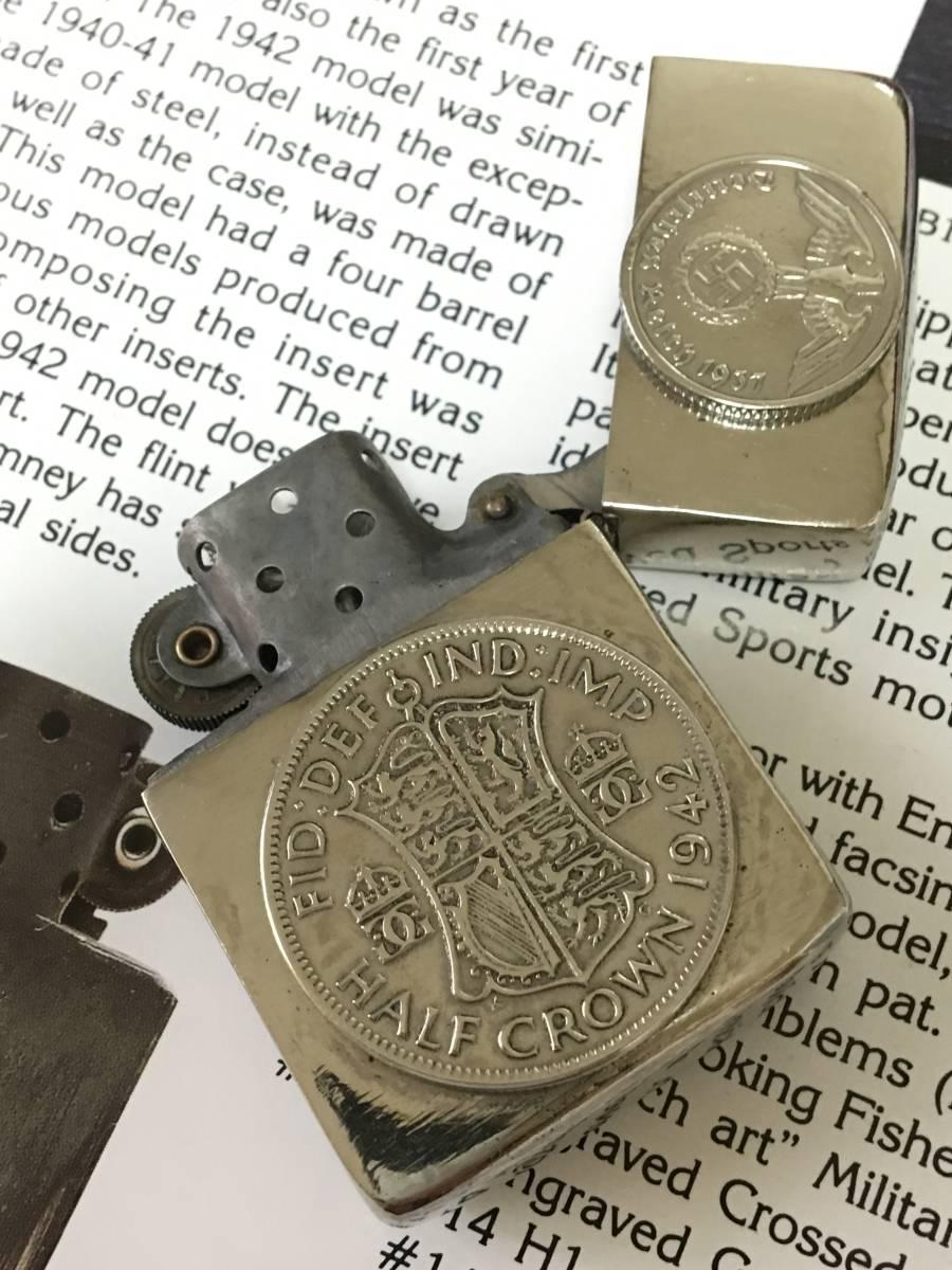1942Y Zippo 4 barrel クロームフィニッシュ ジッポ ワールド Sterling無垢コイン 超希少品 フルオリジナル_画像4
