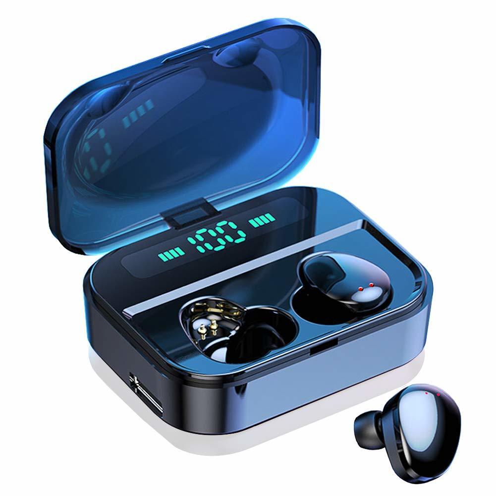 【激安価格】Bluetooth5.0 ワイヤレス イヤホン IPX7完全防水 LED電量表示 30M Bluetooth接続距離 電池残量インジケーター付き