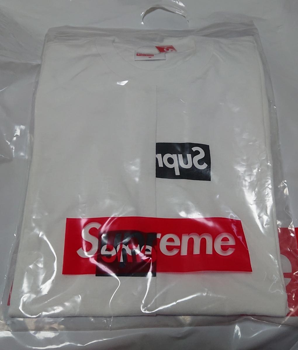 Mサイズ★18aw Supreme COMME DES GARCONS SHIRT Box Logo TEE CDG White白 シュプリーム コムデギャルソン Tシャツ 新品_画像2