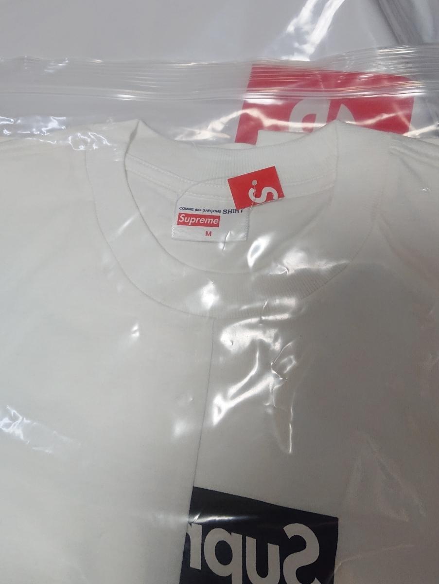 Mサイズ★18aw Supreme COMME DES GARCONS SHIRT Box Logo TEE CDG White白 シュプリーム コムデギャルソン Tシャツ 新品_画像4