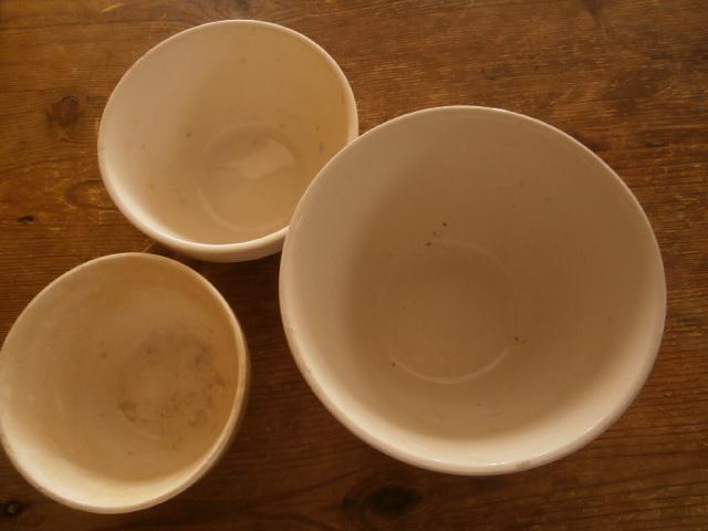 イギリスアンティーク*陶器ボウル3個セット ミキシングボウル サラダ フルーツ 刻印 英国_画像9