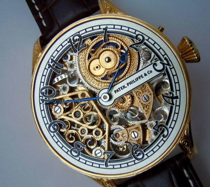 ☆ OH済 激レア 希少 美品 パテックフィリップ PATEK PHILIPPE アンティーク メンズ 腕時計 フルスケルトン 1883年 手巻き式 14KGP ☆_画像5