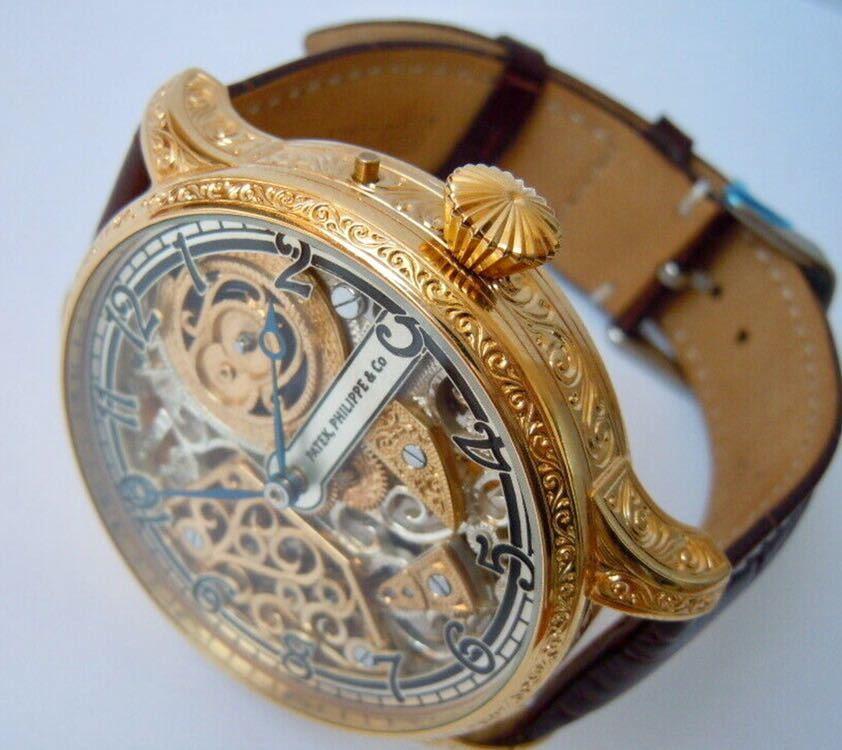 ☆ OH済 激レア 希少 美品 パテックフィリップ PATEK PHILIPPE アンティーク メンズ 腕時計 フルスケルトン 1883年 手巻き式 14KGP ☆_画像2