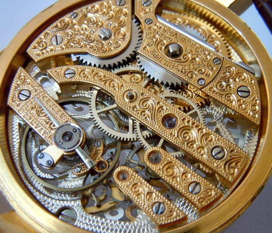 ☆ OH済 激レア 希少 美品 パテックフィリップ PATEK PHILIPPE アンティーク メンズ 腕時計 フルスケルトン 1883年 手巻き式 14KGP ☆_画像10