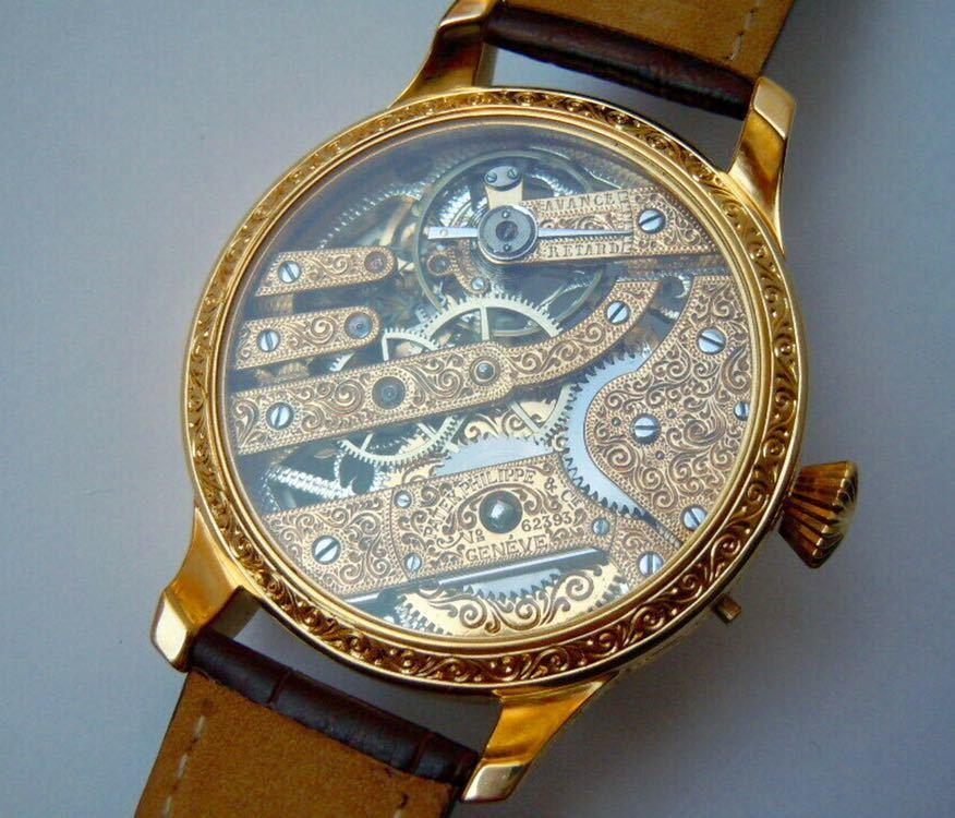 ☆ OH済 激レア 希少 美品 パテックフィリップ PATEK PHILIPPE アンティーク メンズ 腕時計 フルスケルトン 1883年 手巻き式 14KGP ☆_画像6