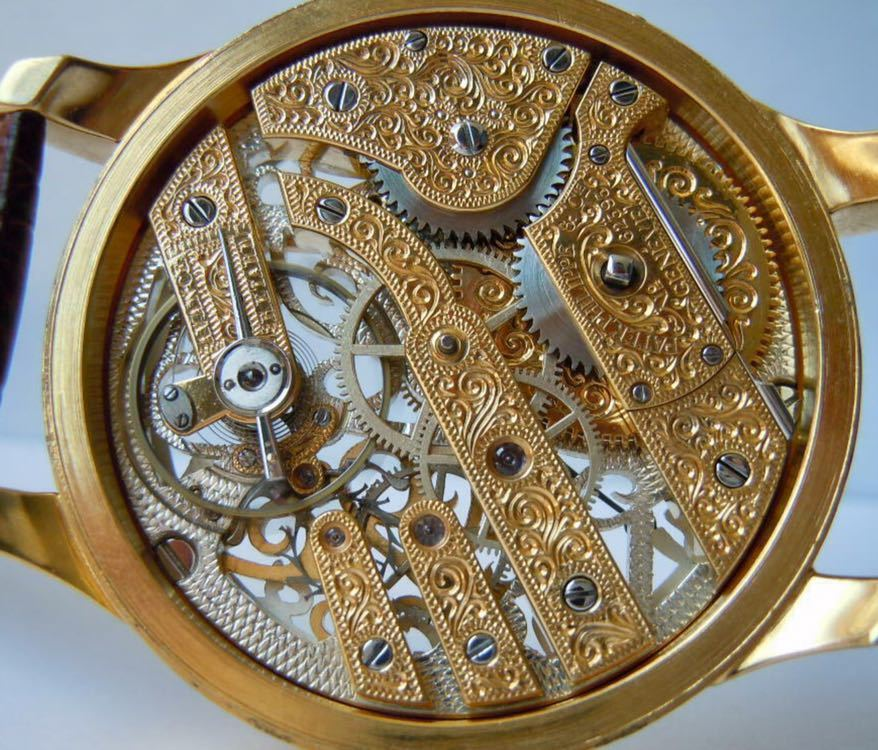 ☆ OH済 激レア 希少 美品 パテックフィリップ PATEK PHILIPPE アンティーク メンズ 腕時計 フルスケルトン 1883年 手巻き式 14KGP ☆_画像8