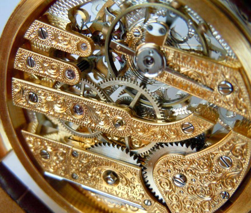 ☆ OH済 激レア 希少 美品 パテックフィリップ PATEK PHILIPPE アンティーク メンズ 腕時計 フルスケルトン 1883年 手巻き式 14KGP ☆_画像9