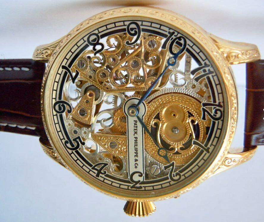 ☆ OH済 激レア 希少 美品 パテックフィリップ PATEK PHILIPPE アンティーク メンズ 腕時計 フルスケルトン 1883年 手巻き式 14KGP ☆_画像7