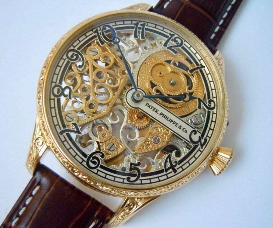 ☆ OH済 激レア 希少 美品 パテックフィリップ PATEK PHILIPPE アンティーク メンズ 腕時計 フルスケルトン 1883年 手巻き式 14KGP ☆_画像3