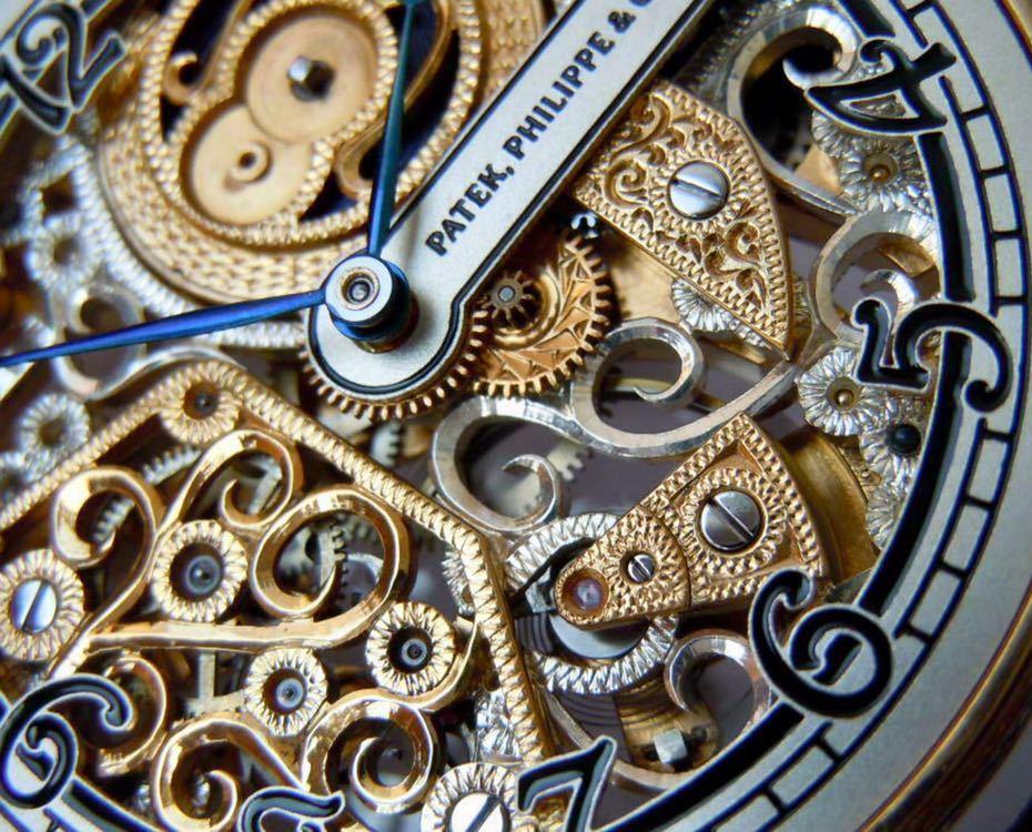 ☆ OH済 激レア 希少 美品 パテックフィリップ PATEK PHILIPPE アンティーク メンズ 腕時計 フルスケルトン 1883年 手巻き式 14KGP ☆_画像4