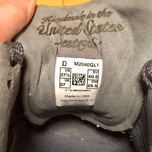 NEW BALANCE M2040GL1 US 7 1/2 D 25.5 Made In USA USA製 ヌバック ニューバランス スニーカー 廃盤 グレー アメリカ製 レア 最上級_画像9