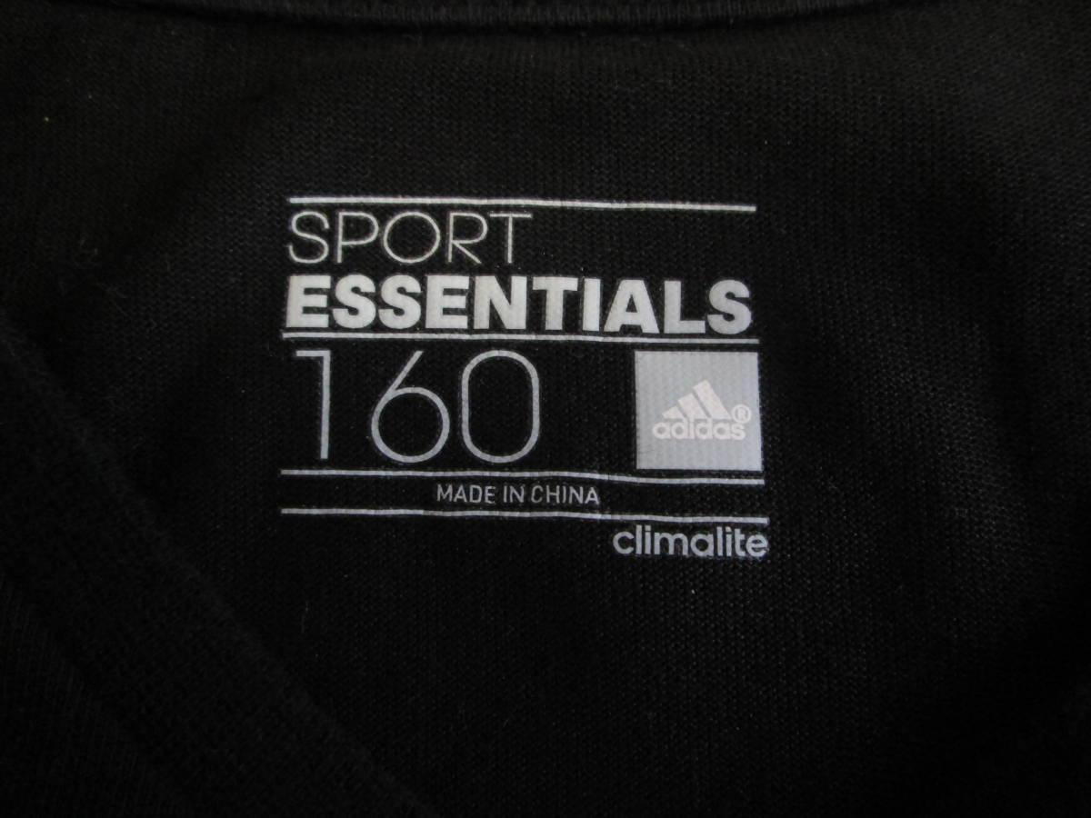 【USED】adidas Tシャツ 160cm 黒_画像3