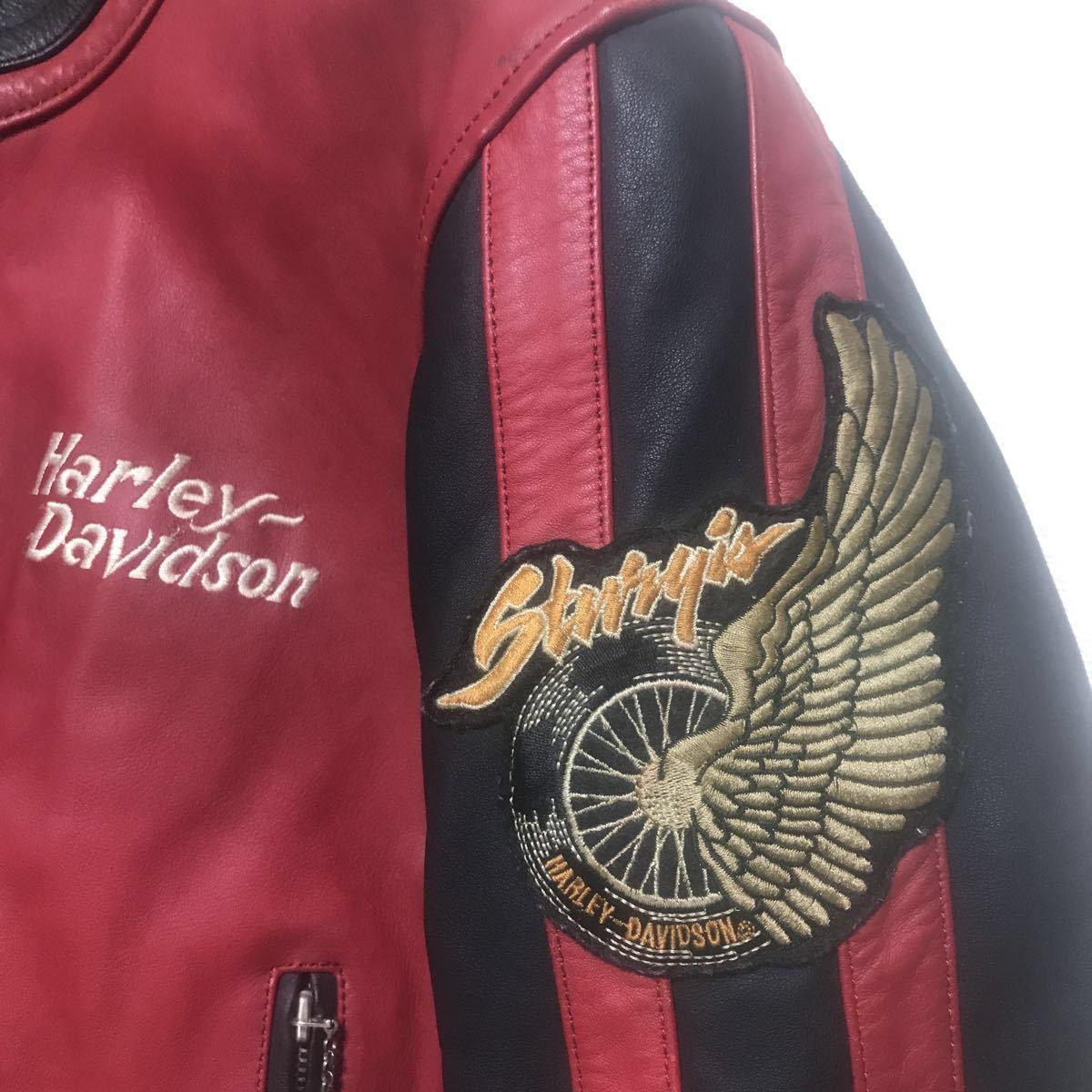 ハーレーダビッドソン ライダースジャケット レザー S 赤黒 牛革_画像2