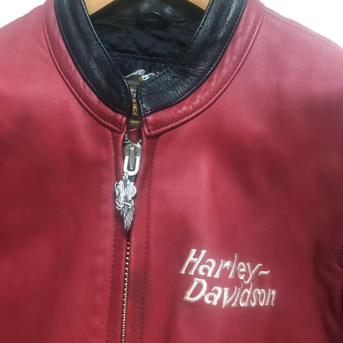 ハーレーダビッドソン ライダースジャケット レザー S 赤黒 牛革_画像4