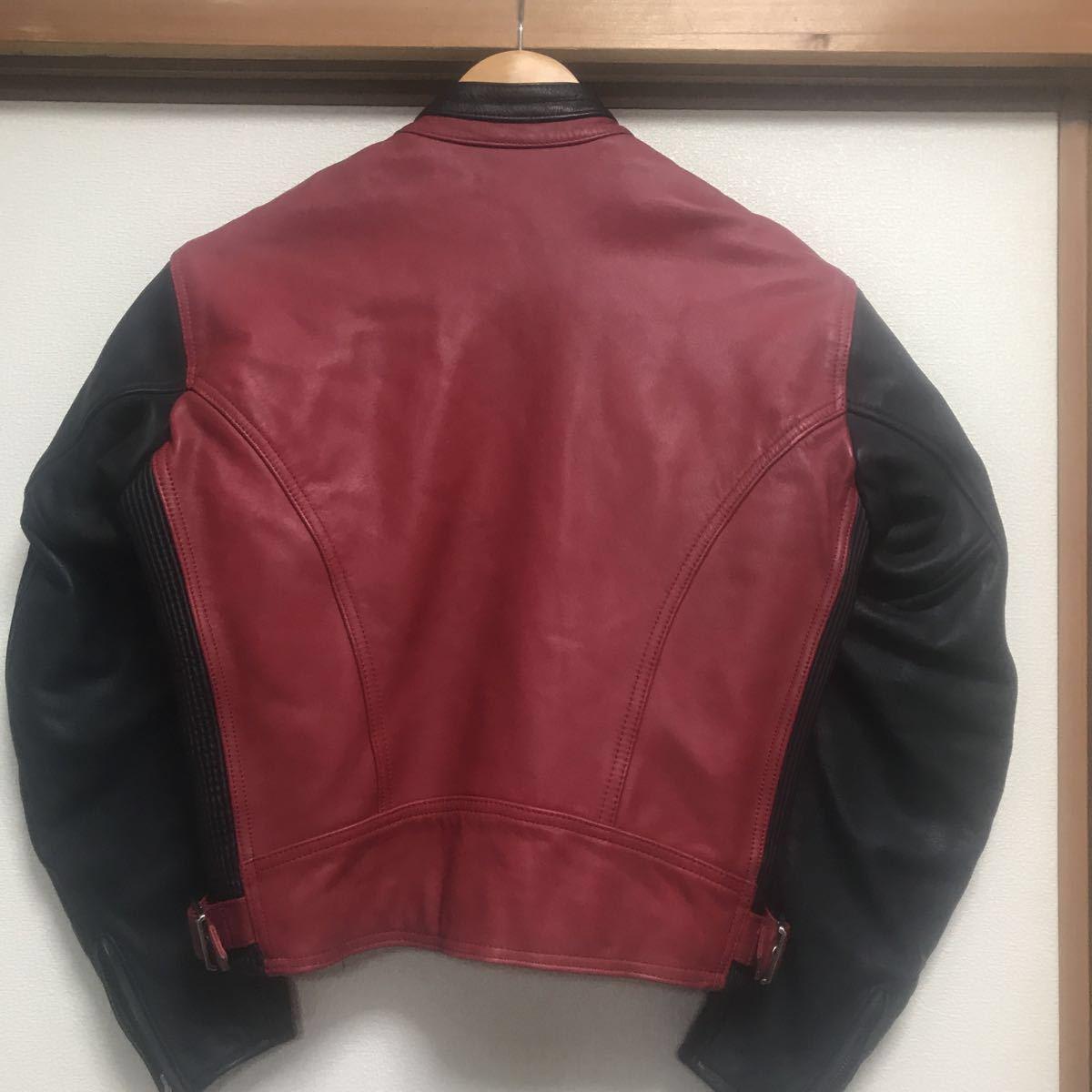 ハーレーダビッドソン ライダースジャケット レザー S 赤黒 牛革_画像5