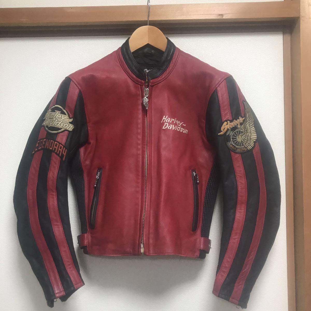 ハーレーダビッドソン ライダースジャケット レザー S 赤黒 牛革