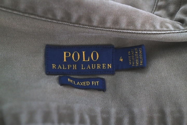 【正規店購入】POLO RALPH LAUREN ポロ ラルフローレン レディース ミリタリー 長袖 シャツ カーキ リラックスフィット サイズ4_画像7
