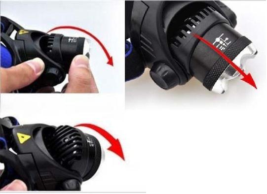 1円 超強力 45時間点灯 ズーム機能付 LED ヘッドライト CREE以上 ヘルメット 防災 18650 充電池 頭 釣り 登山 作業 懐中電灯 自転車 b_画像4
