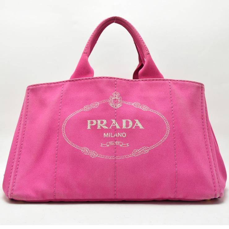 1円◇美品 PRADA プラダ BN1872 カナパ トートバッグ ハンドバッグ かばん キャンバス ピンク◇