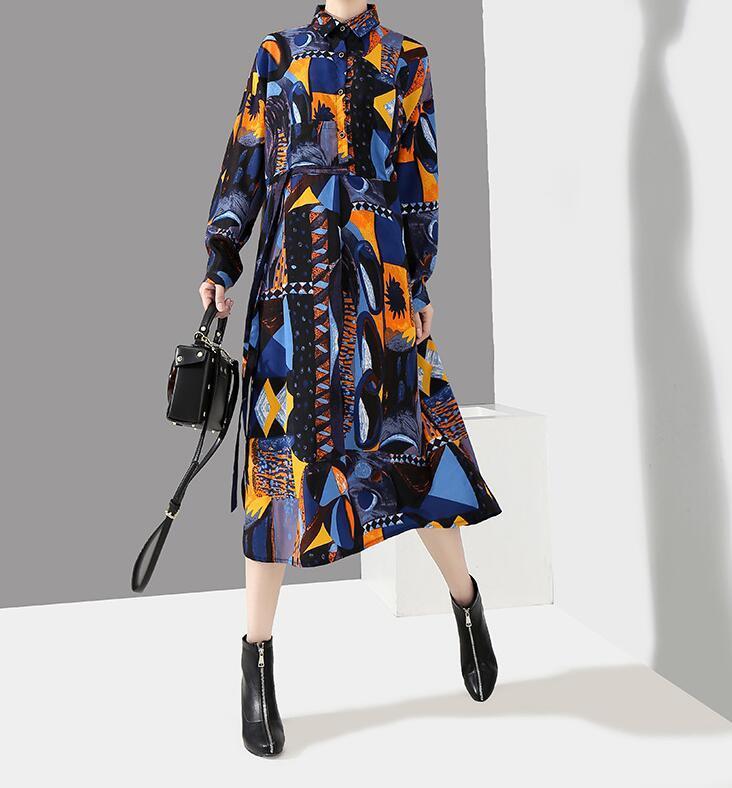 夏新品 上質 ワンピース おしゃれな 不規則裾 長袖 ファッション 花柄プリントン チュール 混色 Fサイズ ドット ゆったり感 ULLK_画像4