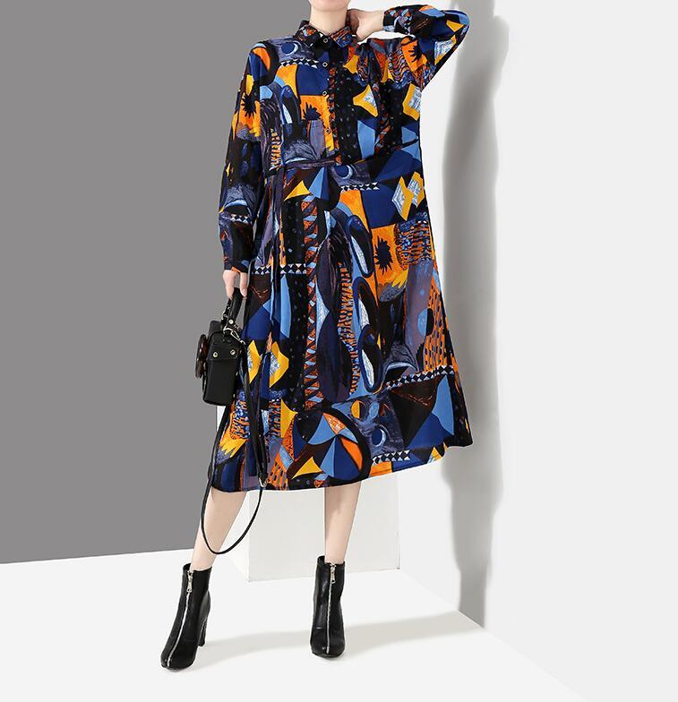 夏新品 上質 ワンピース おしゃれな 不規則裾 長袖 ファッション 花柄プリントン チュール 混色 Fサイズ ドット ゆったり感 ULLK_画像3