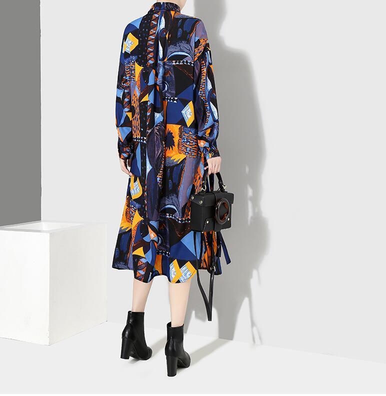 夏新品 上質 ワンピース おしゃれな 不規則裾 長袖 ファッション 花柄プリントン チュール 混色 Fサイズ ドット ゆったり感 ULLK_画像6