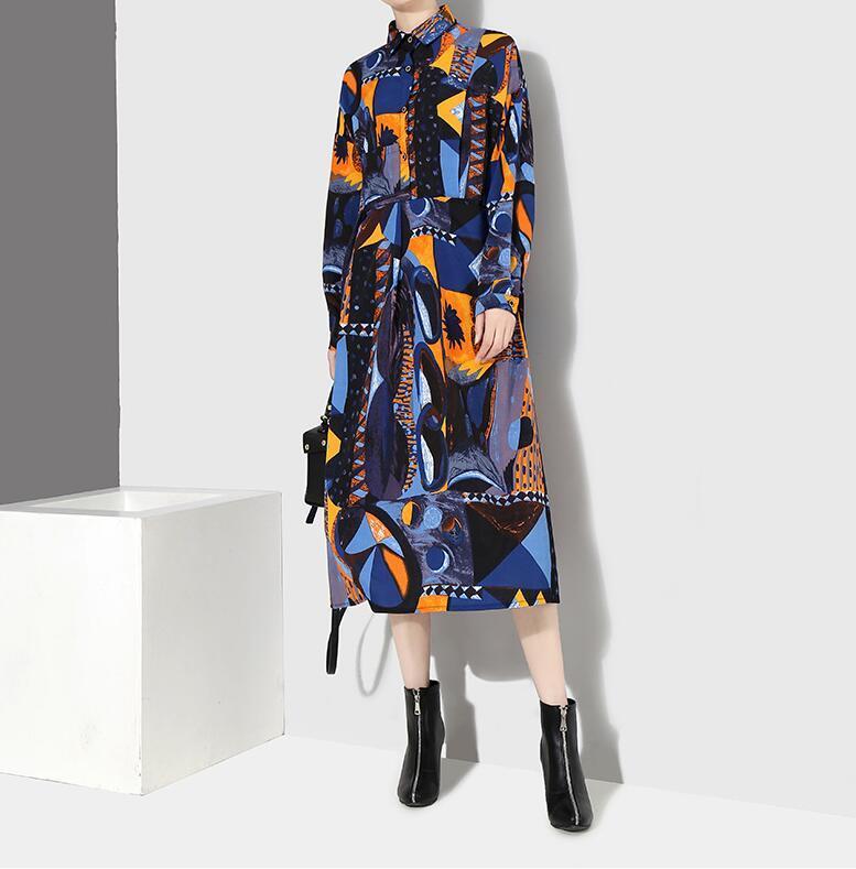 夏新品 上質 ワンピース おしゃれな 不規則裾 長袖 ファッション 花柄プリントン チュール 混色 Fサイズ ドット ゆったり感 ULLK_画像5
