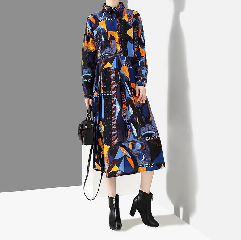 夏新品 上質 ワンピース おしゃれな 不規則裾 長袖 ファッション 花柄プリントン チュール 混色 Fサイズ ドット ゆったり感 ULLK_画像2