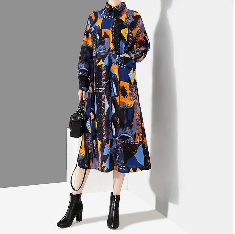 夏新品 上質 ワンピース おしゃれな 不規則裾 長袖 ファッション 花柄プリントン チュール 混色 Fサイズ ドット ゆったり感 ULLK
