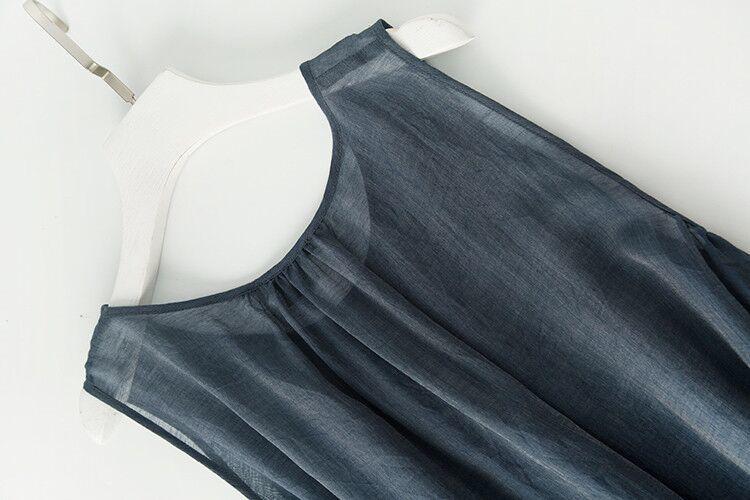 新品登場 糸 シルク 薄い ノースリーブ 着心地のいい ワンピースひざ丈スカートロング スカートスカートZ39**_画像4