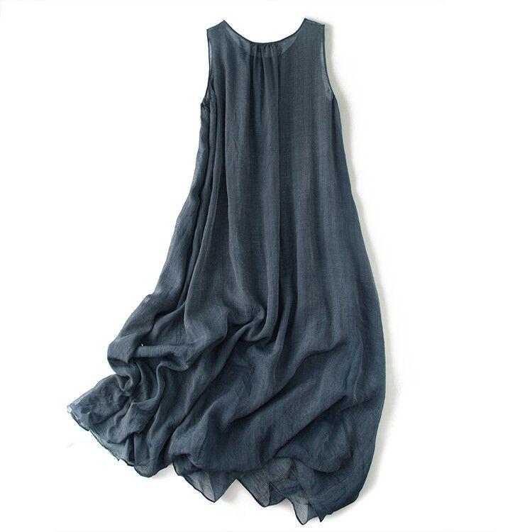 新品登場 糸 シルク 薄い ノースリーブ 着心地のいい ワンピースひざ丈スカートロング スカートスカートZ39**_画像2
