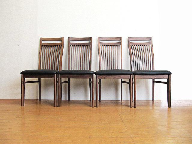 未使用品 九州大川家具 ウォールナット材ダイニングチェア 4脚セット  椅子/チェア