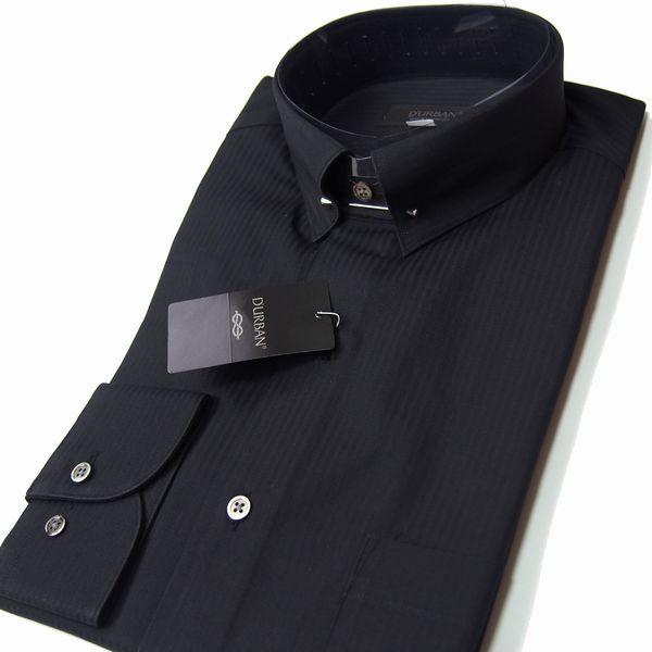 新品 春夏 日本製 定価1.6万 DURBAN ダーバン ピンホールシャドーストライプブラックドレスシャツ 長袖シャツ 39-86 黒 メンズ ビジネス